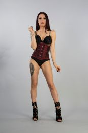 Soiree underbust lace up corset corset in burgundy taffeta with hand embroidered black gemstone floral detail. A steel boned corset with clip fastening, laces and modesty panel at rear.