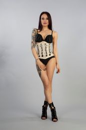 Soiree underbust lace up corset corset in cream taffeta with hand embroidered black gemstone floral detail. A steel boned corset with clip fastening, laces and modesty panel at rear.