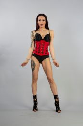 Soiree underbust lace up corset corset in red taffeta with hand embroidered black gemstone floral detail. A steel boned corset with clip fastening, laces and modesty panel at rear.