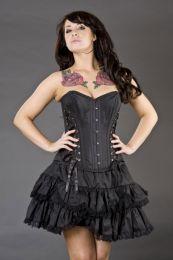 Sophia burlesque mini skirt in black taffeta