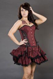 Sophia mini burlesque skirt in burgundy taffeta