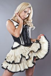 Sophia burlesque mini skirt in cream and black taffeta