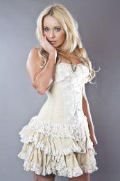 Sophia burlesque mini skirt in cream taffeta and lace