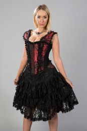 Sophia burlesque knee length corset dress in red king brocade
