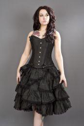 Sophia knee length burlesque skirt in black taffeta