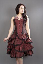 Sophia knee length burlesque skirt in burgundy taffeta