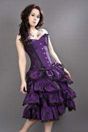 Sophia knee length burlesque skirt in purple taffeta