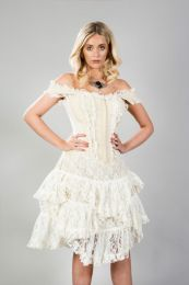Sophia knee length corset dress in cream taffeta
