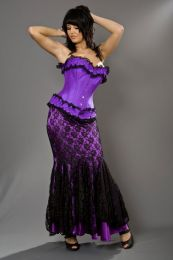 Sophia overbust steel boned corset in purple taffeta