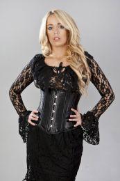 Sophisticated double steel boned underbust corset in black satin