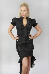 Star burlesque ladies shirt with frills in black cotton