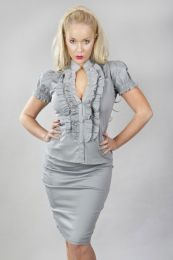 Star burlesque ladies shirt with frills in grey cotton