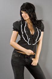 Star ladies rockabilly shirt in pinstripe