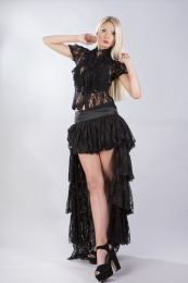 Star burlesque ladies shirt with frills in black lace