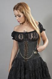 Steampunk underbust lace up corset in black brocade