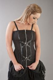 Steffi punk rock corset top in black and white stripes