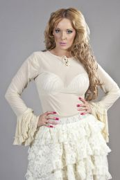 Tasha long sleeve victorian top in cream mesh