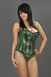 Tease overbust corset with zip in green sequins