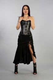 Temtress long skirt in black hosery cotton mesh