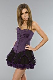 Thread ruffled mini skirt in black and purple mesh