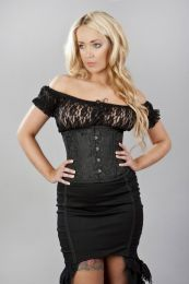 Traditional double steel boned underbust corset in black scroll brocade
