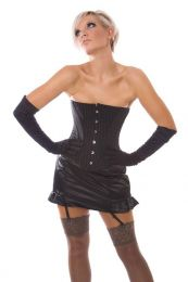 Traditional overbust rockabilly corset in pinstripe