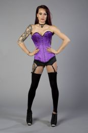 Victorian overbust long line corset in purple satin