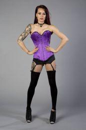 Victorian overbust plus size corset in purple satin