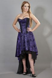 Valerie high low corset dress in purple satin flock