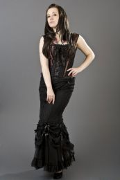 Vanity victorian goth maxi skirt in black cotton and black lace overlay