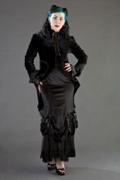 Vanity gothic victorian long skirt in black velvet
