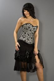Vanity knee length burlesque skirt in black cotton & black lace overlay