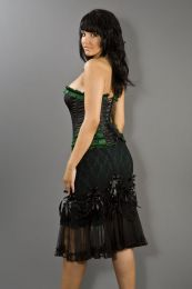 Vanity knee length burlesque skirt in green cotton and black lace overlay