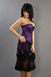 Vanity knee length Burlesque skirt in purple cotton and black lace overlay