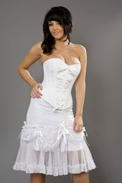Vanity knee length burlesque skirt in white cotton and white lace overlay