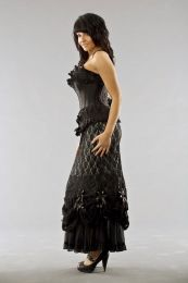 Vanity victorian goth maxi skirt in silver cotton and black lace overlay