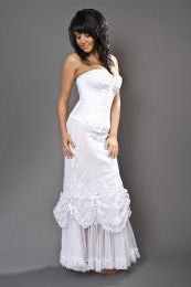 Vanity Maxi skirt in white cotton and white lace overlay