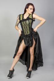 Venice burlesque overbust corset in olive taffeta