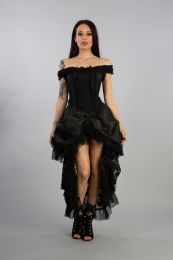 Versailles corset dress black king brocade, and black lace, with lace frills and ribbon detail. Rear lace fastening with modesty panel.