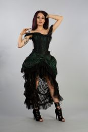 Versailles corset dress in green scroll brocade and black lace, with lace frills and ribbon detail. Rear lace fastening with modesty panel.