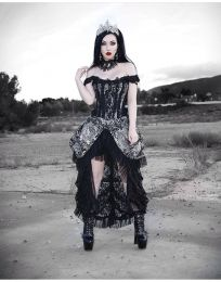 Versailles corset dress silver king brocade, and black lace, with lace frills and ribbon detail.