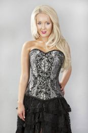 Versatile double steel boned overbust corset in silver king brocade