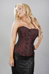 Versatile long line double steel boned overbust corset in red scroll brocade