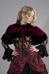 Victorian bolero shrug in burgundy velvet and black fur