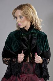 Victorian bolero shrug in green velvet and black fur