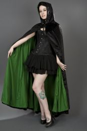 Gothic hooded cape in black velvet with green satin lining