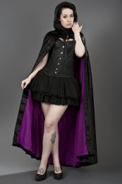 Gothic hooded cape in black velvet and purple satin lining