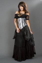 Victorian gothic black satin maxi skirt