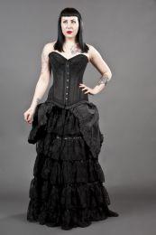 Victorian goth back taffeta maxi skirt