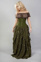 Victorian gothic long skirt in olive green chiffon